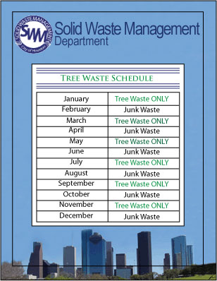 Tree and Junk Waste Monthly Schedule